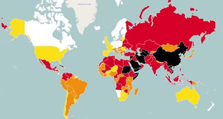 kaart wereldwijde persvrijheid